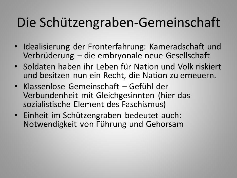 Die Schützengraben-Gemeinschaft Idealisierung der Fronterfahrung: Kameradschaft und Verbrüderung – die embryonale neue Gesellschaft Soldaten haben ihr