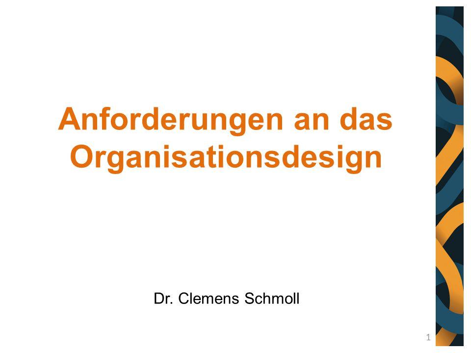 Anforderungen an das Organisationsdesign Dr. Clemens Schmoll 1