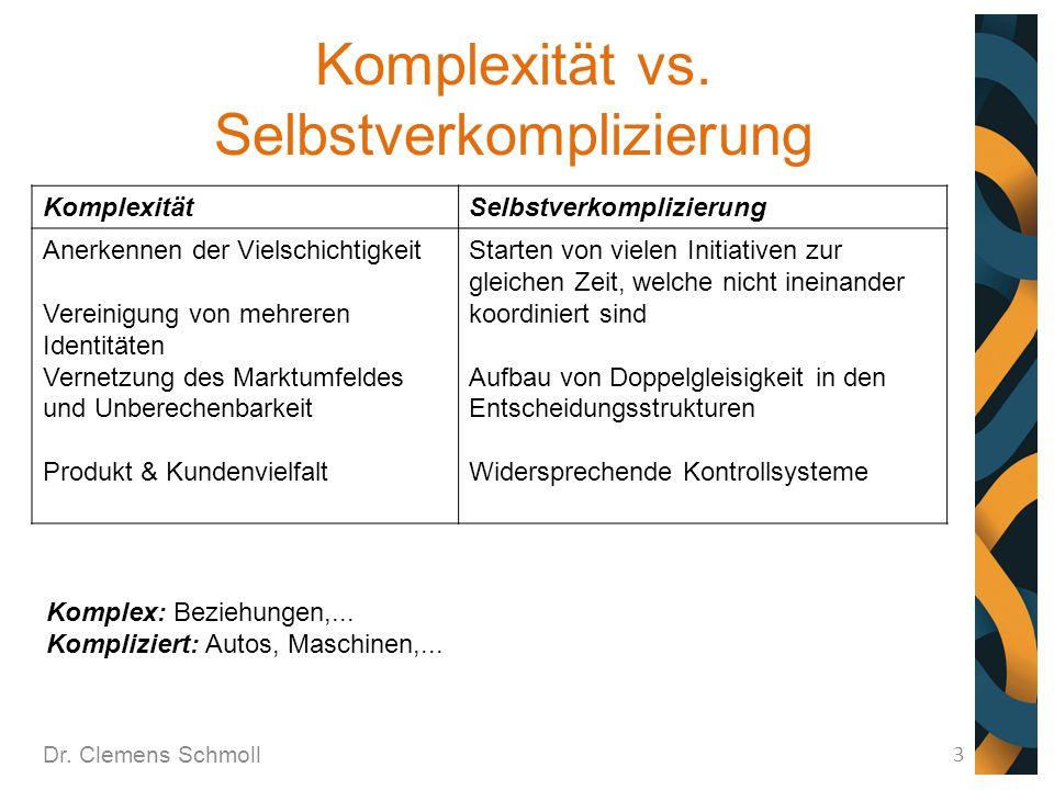 Komplexität vs. Selbstverkomplizierung Dr. Clemens Schmoll 3 KomplexitätSelbstverkomplizierung Anerkennen der Vielschichtigkeit Vereinigung von mehrer