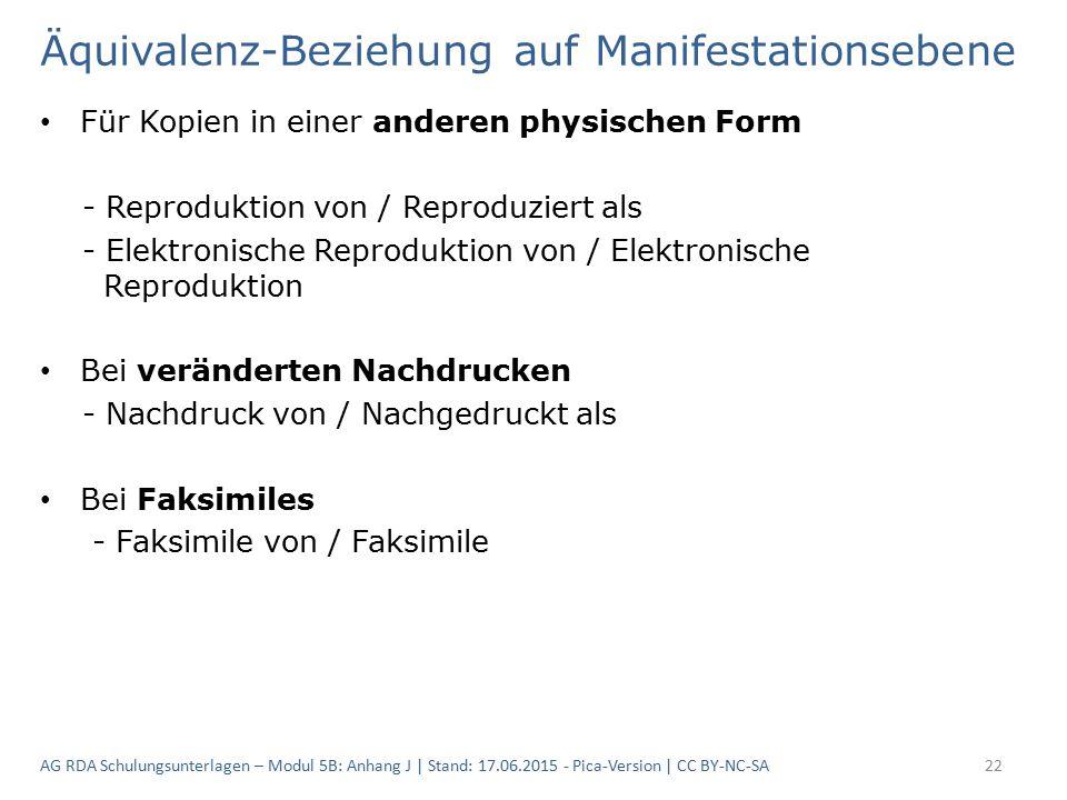 Äquivalenz-Beziehung auf Manifestationsebene Für Kopien in einer anderen physischen Form - Reproduktion von / Reproduziert als - Elektronische Reproduktion von / Elektronische Reproduktion Bei veränderten Nachdrucken - Nachdruck von / Nachgedruckt als Bei Faksimiles - Faksimile von / Faksimile AG RDA Schulungsunterlagen – Modul 5B: Anhang J | Stand: 17.06.2015 - Pica-Version | CC BY-NC-SA22