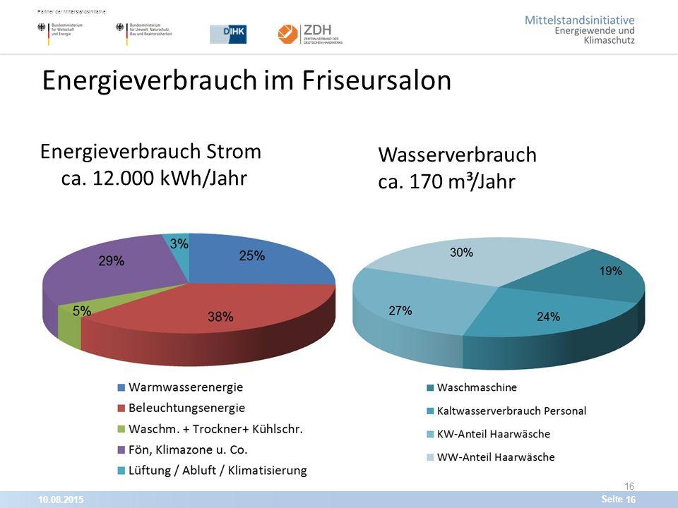 10.08.201516 Partner der Mittelstandsinitiative: Seite 16 Energieverbrauch im Friseursalon Energieverbrauch Strom ca.
