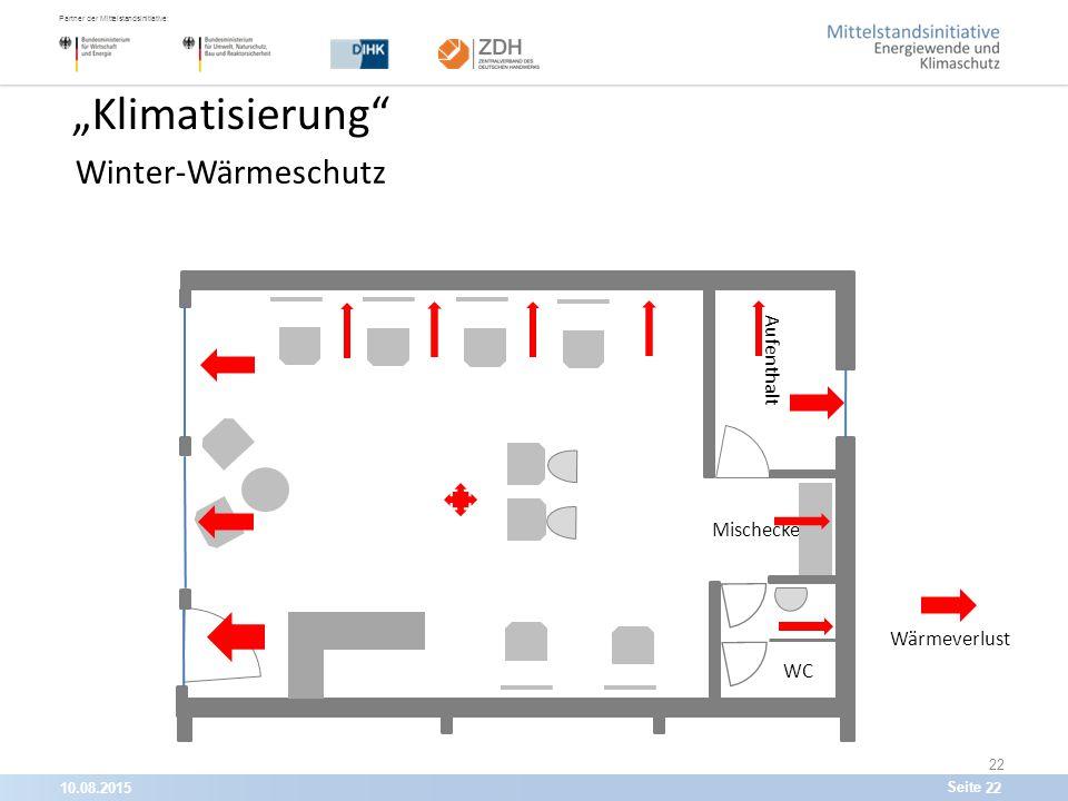 """10.08.201522 Partner der Mittelstandsinitiative: Seite 22 """"Klimatisierung Winter-Wärmeschutz WC Aufenthalt Mischecke Wärmeverlust"""