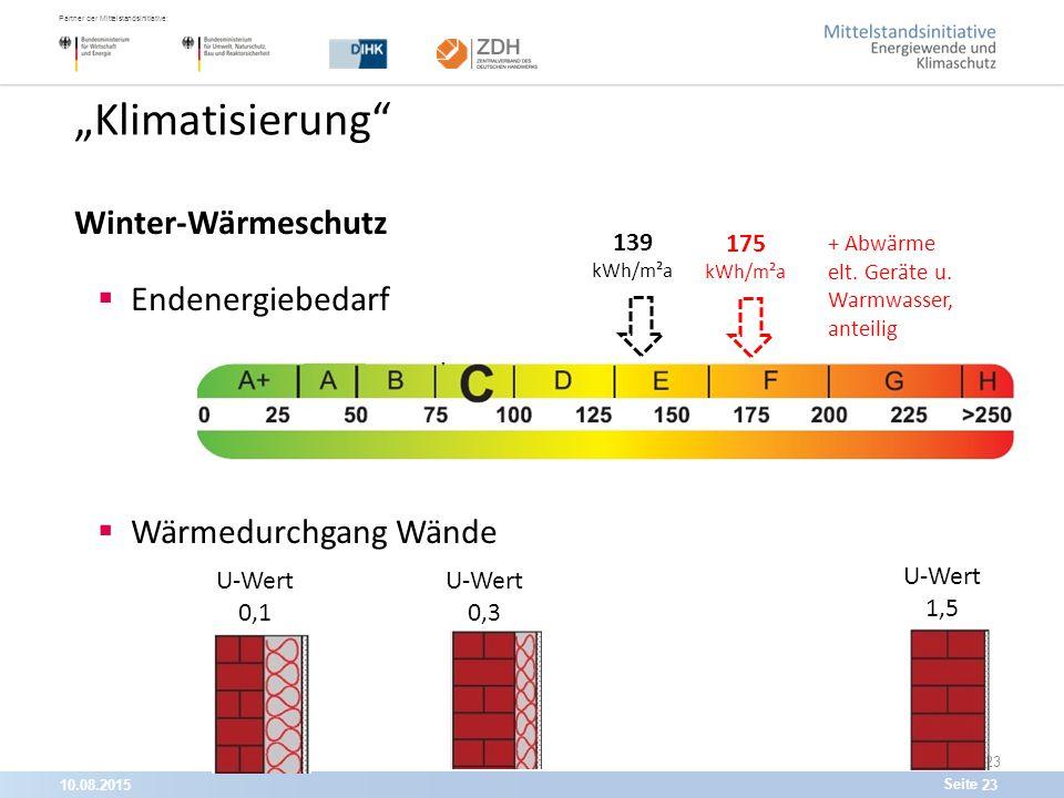 """10.08.201523 Partner der Mittelstandsinitiative: Seite 23 """"Klimatisierung Winter-Wärmeschutz  Endenergiebedarf  Wärmedurchgang Wände U-Wert 1,5 U-Wert 0,1 U-Wert 0,3 139 kWh/m²a 175 kWh/m²a + Abwärme elt."""
