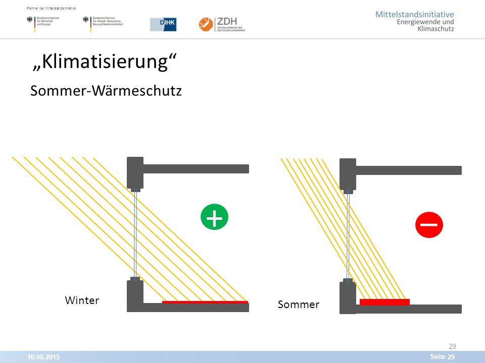 """10.08.201529 Partner der Mittelstandsinitiative: Seite 29 """"Klimatisierung Sommer-Wärmeschutz Sommer + -_-_ - Winter"""