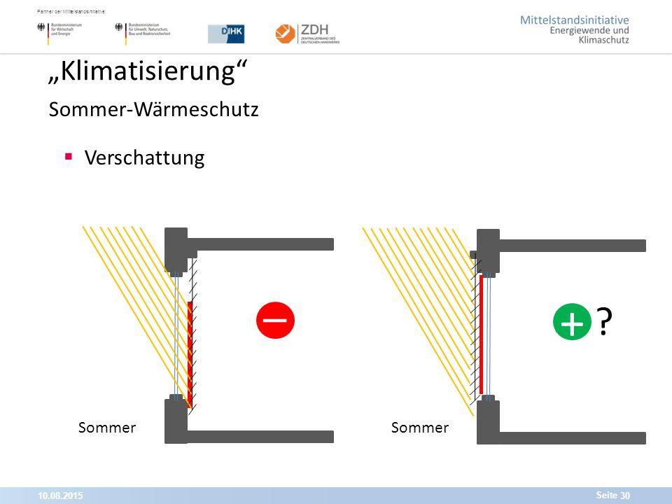 """10.08.201530 Partner der Mittelstandsinitiative: Seite """"Klimatisierung Sommer-Wärmeschutz  Verschattung Sommer -_-_ - +"""