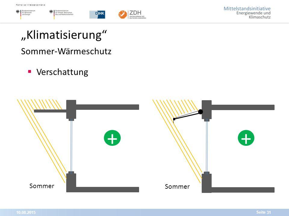 """10.08.201531 Partner der Mittelstandsinitiative: Seite """"Klimatisierung Sommer-Wärmeschutz  Verschattung Sommer ++"""