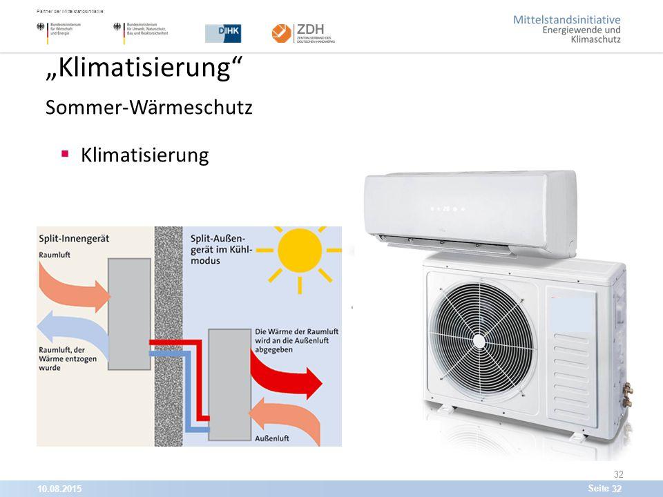 """10.08.201532 Partner der Mittelstandsinitiative: Seite 32 """"Klimatisierung Sommer-Wärmeschutz  Klimatisierung"""