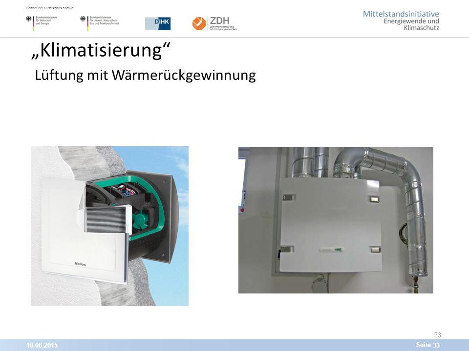 """10.08.201533 Partner der Mittelstandsinitiative: Seite 33 """"Klimatisierung Lüftung mit Wärmerückgewinnung"""