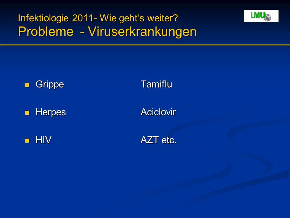 Infektiologie 2011- Wie geht's weiter? Probleme - Viruserkrankungen GrippeTamiflu GrippeTamiflu HerpesAciclovir HerpesAciclovir HIVAZT etc. HIVAZT etc