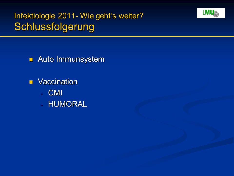 Infektiologie 2011- Wie geht's weiter? Schlussfolgerung Auto Immunsystem Auto Immunsystem Vaccination Vaccination - CMI - HUMORAL