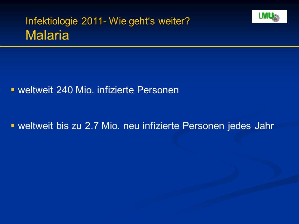 Infektiologie 2011- Wie geht's weiter? Infektiologie 2011- Wie geht's weiter? Malaria  weltweit 240 Mio. infizierte Personen  weltweit bis zu 2.7 Mi