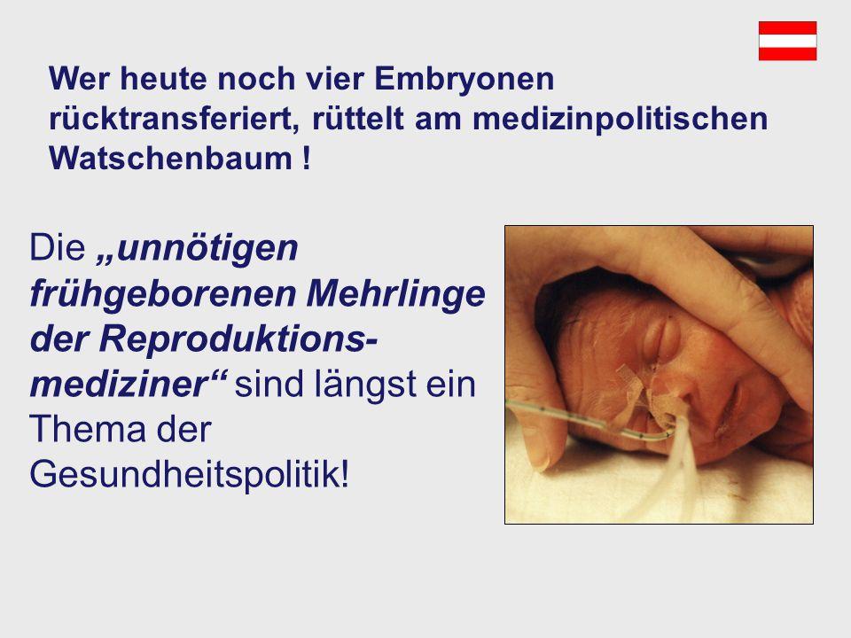 Österreich – es werden immer noch zu viele Embryonen rücktransferiert! Zervomanolakis,