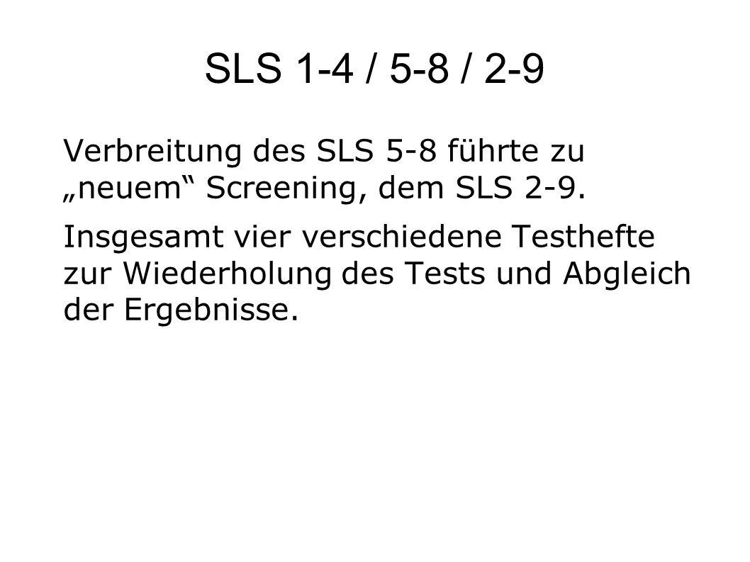 """SLS 1-4 / 5-8 / 2-9 Verbreitung des SLS 5-8 führte zu """"neuem"""" Screening, dem SLS 2-9. Insgesamt vier verschiedene Testhefte zur Wiederholung des Tests"""