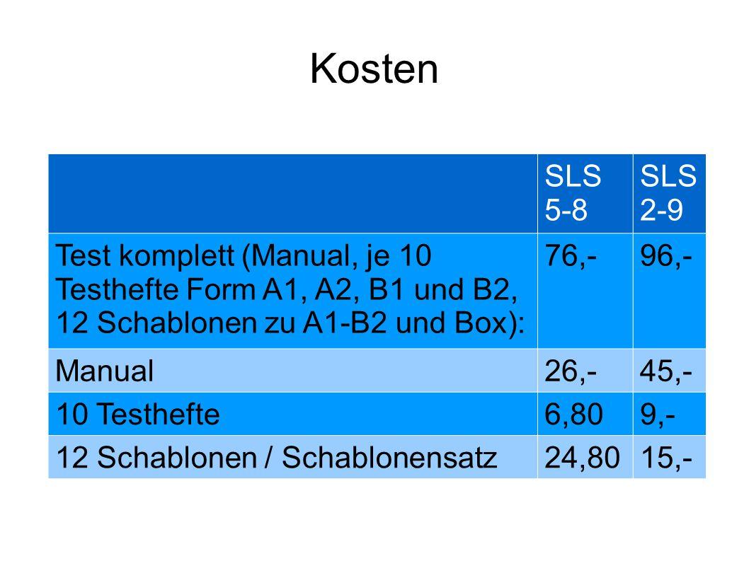 Kosten SLS 5-8 SLS 2-9 Test komplett (Manual, je 10 Testhefte Form A1, A2, B1 und B2, 12 Schablonen zu A1-B2 und Box): 76,-96,- Manual26,-45,- 10 Test
