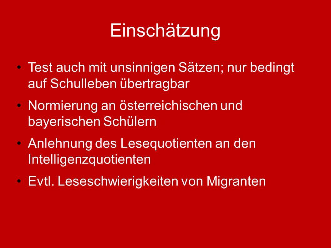 Einschätzung Test auch mit unsinnigen Sätzen; nur bedingt auf Schulleben übertragbar Normierung an österreichischen und bayerischen Schülern Anlehnung