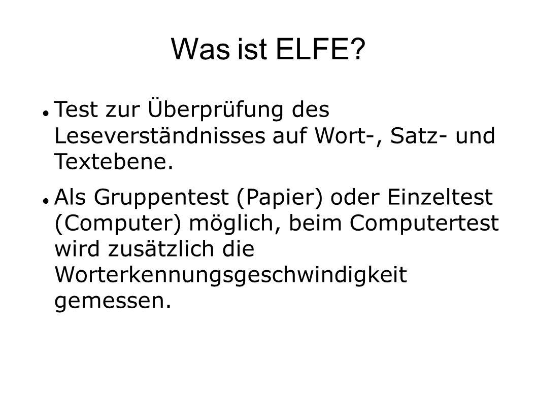 Was ist ELFE? Test zur Überprüfung des Leseverständnisses auf Wort-, Satz- und Textebene. Als Gruppentest (Papier) oder Einzeltest (Computer) möglich,