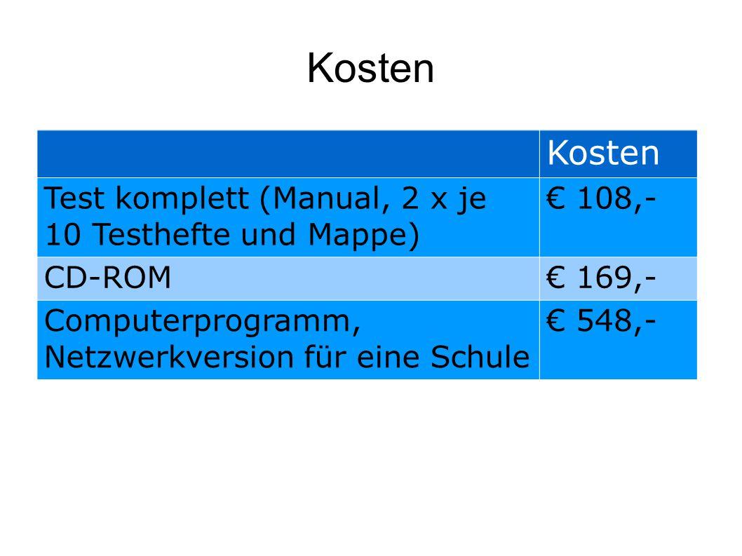 Kosten Test komplett (Manual, 2 x je 10 Testhefte und Mappe) € 108,- CD-ROM€ 169,- Computerprogramm, Netzwerkversion für eine Schule € 548,-
