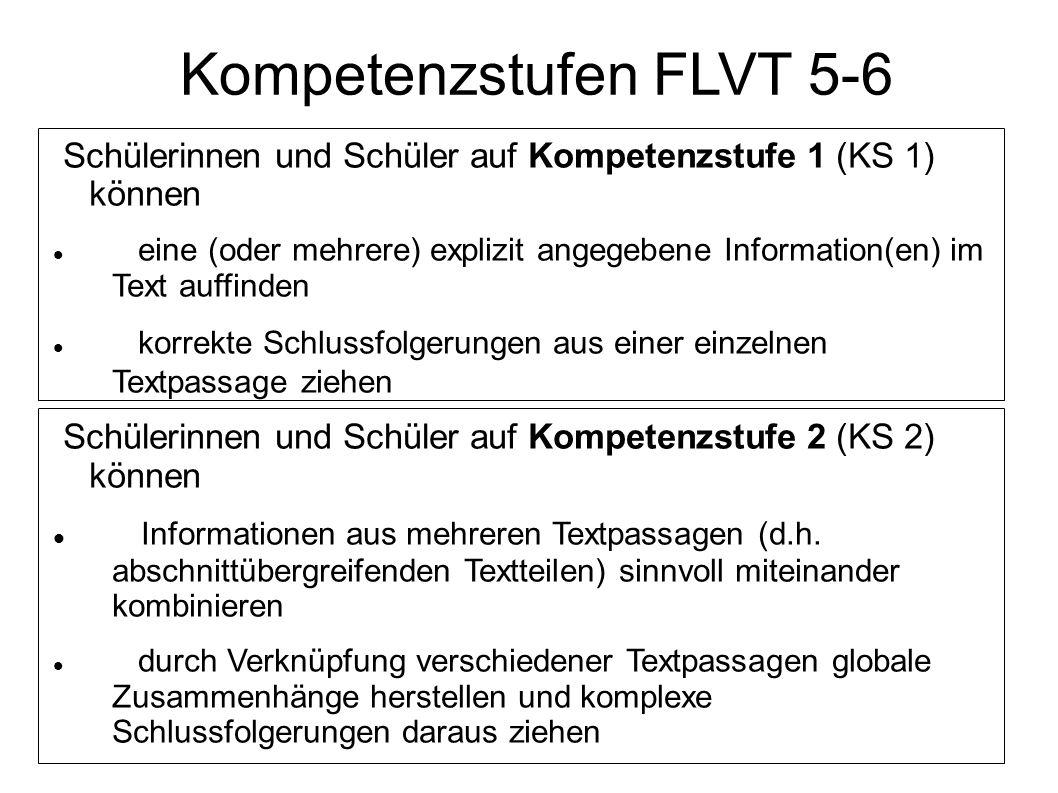 Schülerinnen und Schüler auf Kompetenzstufe 1 (KS 1) können eine (oder mehrere) explizit angegebene Information(en) im Text auffinden korrekte Schluss