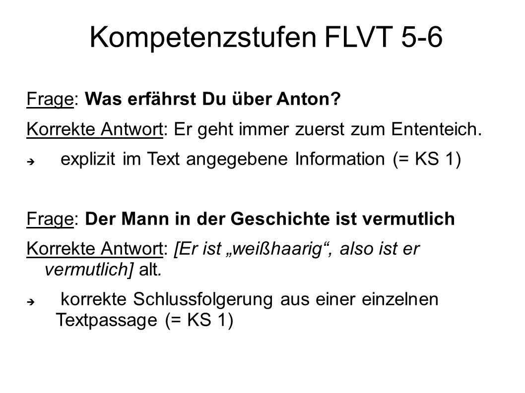 Frage: Was erfährst Du über Anton? Korrekte Antwort: Er geht immer zuerst zum Ententeich.  explizit im Text angegebene Information (= KS 1) Frage: De