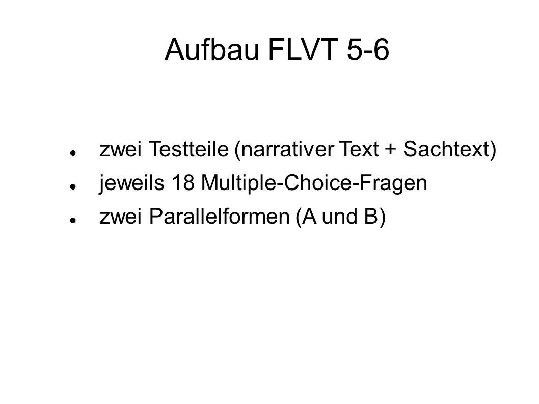 zwei Testteile (narrativer Text + Sachtext) jeweils 18 Multiple-Choice-Fragen zwei Parallelformen (A und B) Aufbau FLVT 5-6