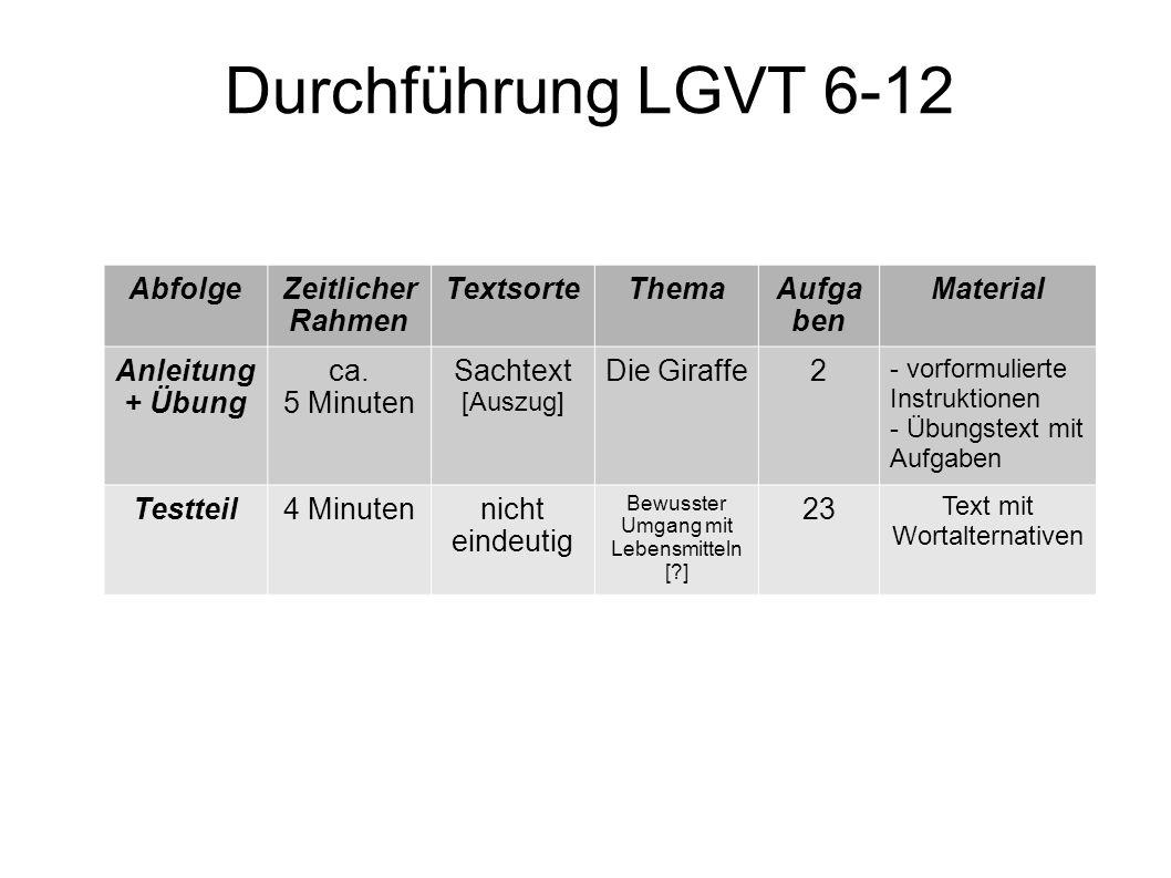 Durchführung LGVT 6-12 AbfolgeZeitlicher Rahmen TextsorteThemaAufga ben Material Anleitung + Übung ca. 5 Minuten Sachtext [Auszug] Die Giraffe2 - vorf