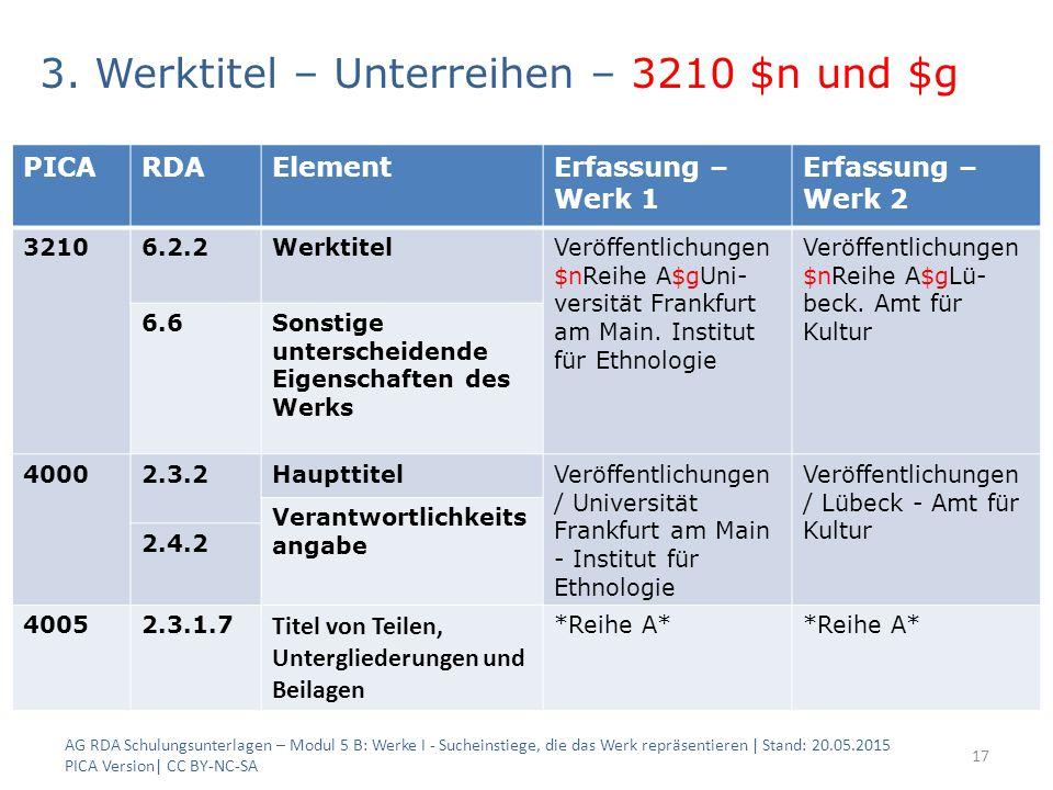 3. Werktitel – Unterreihen – 3210 $n und $g 2 Beispiele: AG RDA Schulungsunterlagen – Modul 5 B: Werke I - Sucheinstiege, die das Werk repräsentieren
