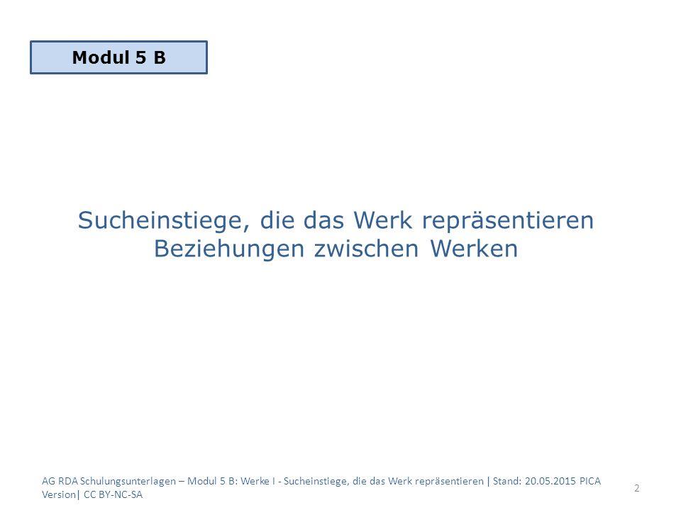 Sucheinstiege, die das Werk repräsentieren Beziehungen zwischen Werken AG RDA Schulungsunterlagen – Modul 5 B: Werke I - Sucheinstiege, die das Werk repräsentieren | Stand: 20.05.2015 PICA Version| CC BY-NC-SA 2 Modul 5 B