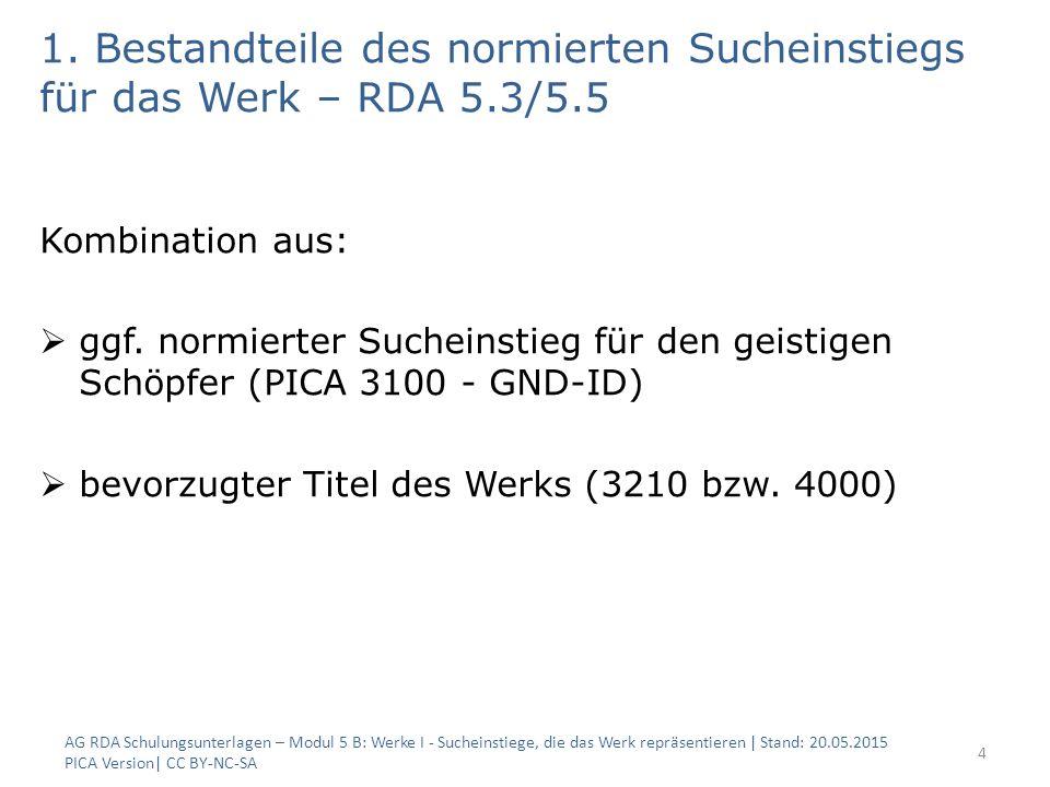 1. Bestandteile des normierten Sucheinstiegs für das Werk – RDA 5.3/5.5 Kombination aus:  ggf. normierter Sucheinstieg für den geistigen Schöpfer (PI