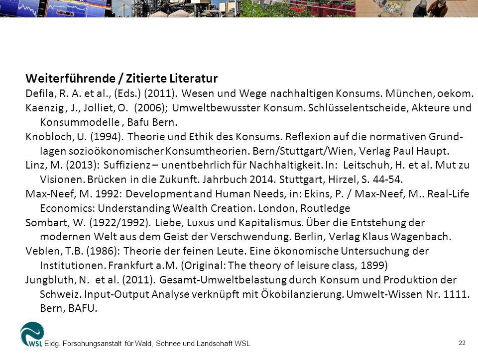 Weiterführende / Zitierte Literatur Defila, R.A. et al., (Eds.) (2011).