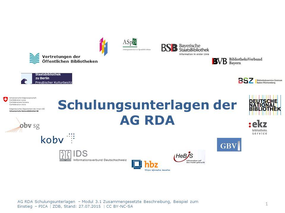 Schulungsunterlagen der AG RDA Vertretungen der Öffentlichen Bibliotheken 1 AG RDA Schulungsunterlagen – Modul 3.1 Zusammengesetzte Beschreibung, Beispiel zum Einstieg – PICA | ZDB, Stand: 27.07.2015 | CC BY-NC-SA