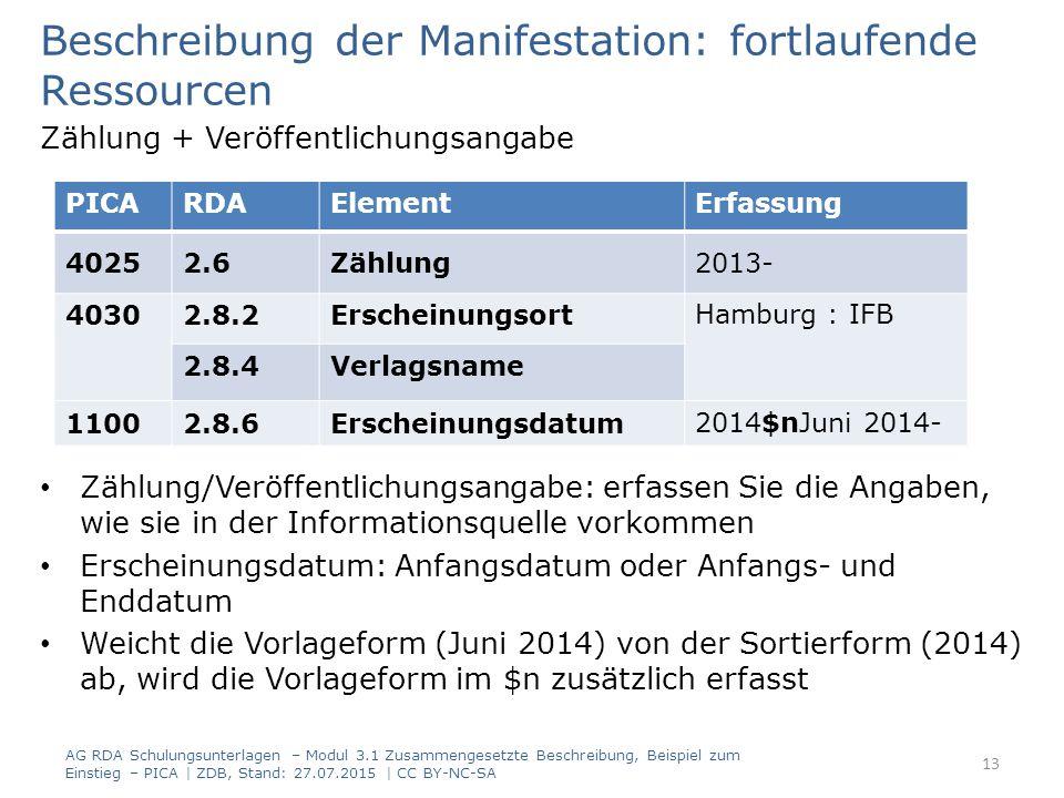 Beschreibung der Manifestation: fortlaufende Ressourcen Zählung + Veröffentlichungsangabe Zählung/Veröffentlichungsangabe: erfassen Sie die Angaben, wie sie in der Informationsquelle vorkommen Erscheinungsdatum: Anfangsdatum oder Anfangs- und Enddatum Weicht die Vorlageform (Juni 2014) von der Sortierform (2014) ab, wird die Vorlageform im $n zusätzlich erfasst PICARDAElementErfassung 40252.6Zählung2013- 40302.8.2ErscheinungsortHamburg : IFB 2.8.4Verlagsname 11002.8.6Erscheinungsdatum2014$nJuni 2014- AG RDA Schulungsunterlagen – Modul 3.1 Zusammengesetzte Beschreibung, Beispiel zum Einstieg – PICA | ZDB, Stand: 27.07.2015 | CC BY-NC-SA 13