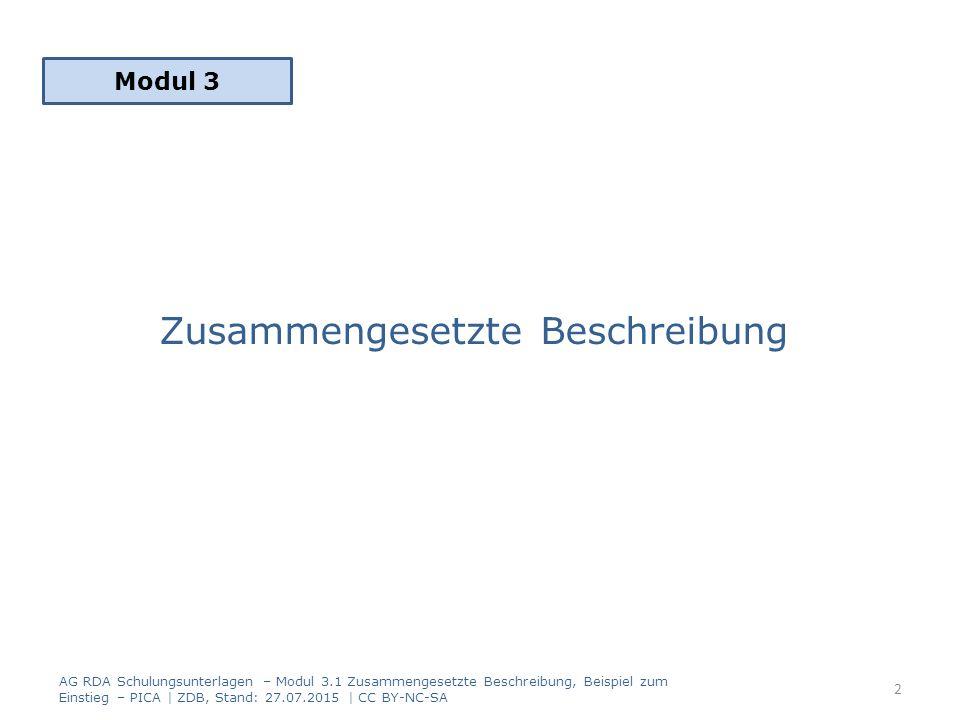 Zusammengesetzte Beschreibung Modul 3 2 AG RDA Schulungsunterlagen – Modul 3.1 Zusammengesetzte Beschreibung, Beispiel zum Einstieg – PICA | ZDB, Stand: 27.07.2015 | CC BY-NC-SA