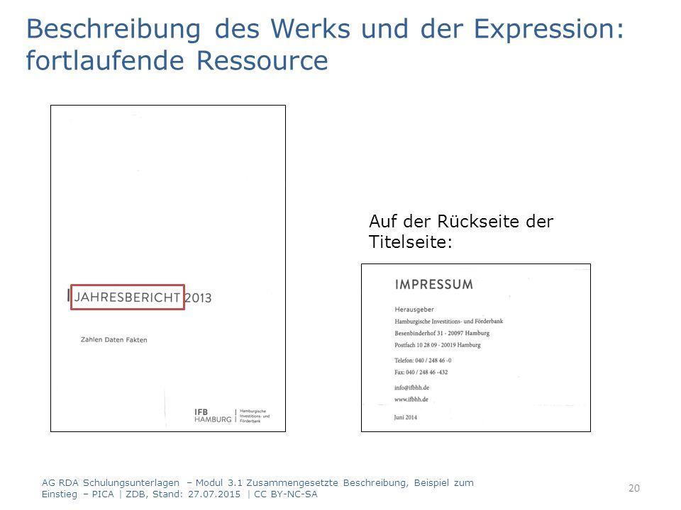 Beschreibung des Werks und der Expression: fortlaufende Ressource Auf der Rückseite der Titelseite: AG RDA Schulungsunterlagen – Modul 3.1 Zusammengesetzte Beschreibung, Beispiel zum Einstieg – PICA | ZDB, Stand: 27.07.2015 | CC BY-NC-SA 20