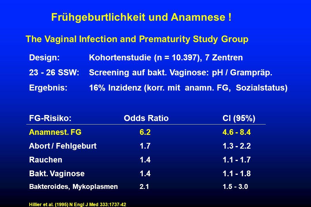Frühgeburtlichkeit und Anamnese ! The Vaginal Infection and Prematurity Study Group Design: Kohortenstudie (n = 10.397), 7 Zentren 23 - 26 SSW: Screen