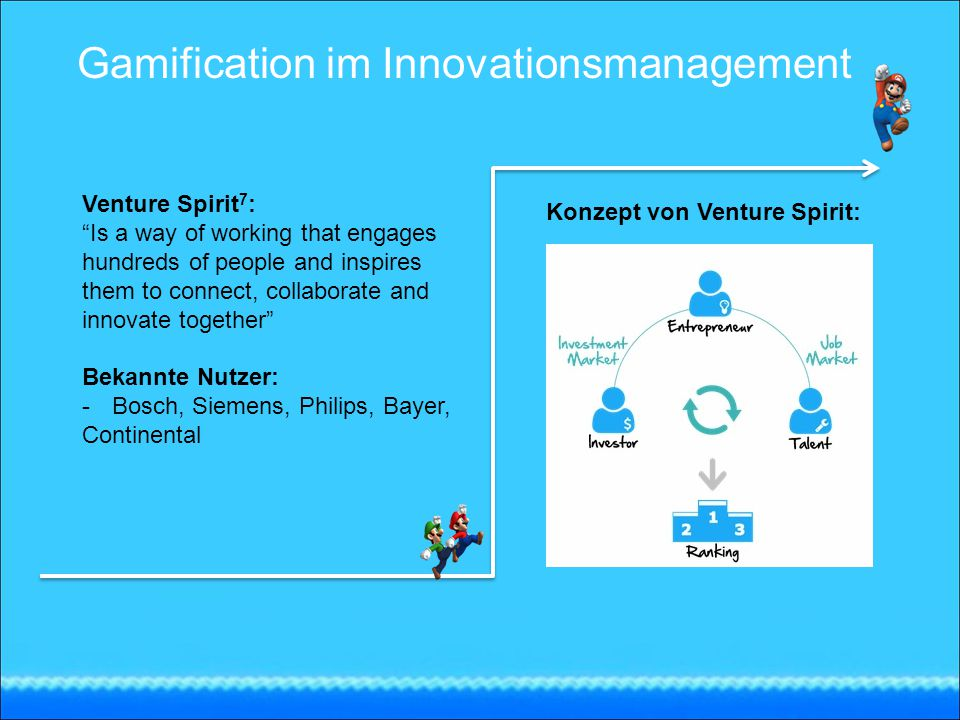 Venture Spirit 7 : Is a way of working that engages hundreds of people and inspires them to connect, collaborate and innovate together Bekannte Nutzer: -Bosch, Siemens, Philips, Bayer, Continental Konzept von Venture Spirit: Gamification im Innovationsmanagement