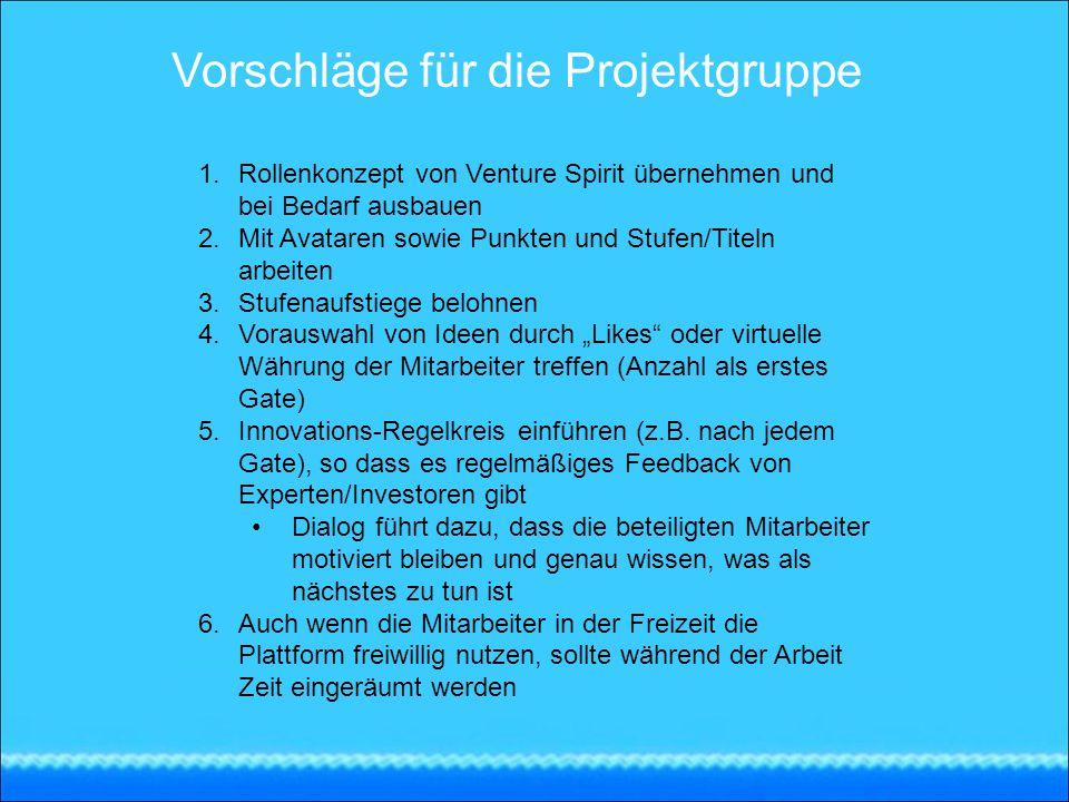 Vorschläge für die Projektgruppe 1.Rollenkonzept von Venture Spirit übernehmen und bei Bedarf ausbauen 2.Mit Avataren sowie Punkten und Stufen/Titeln
