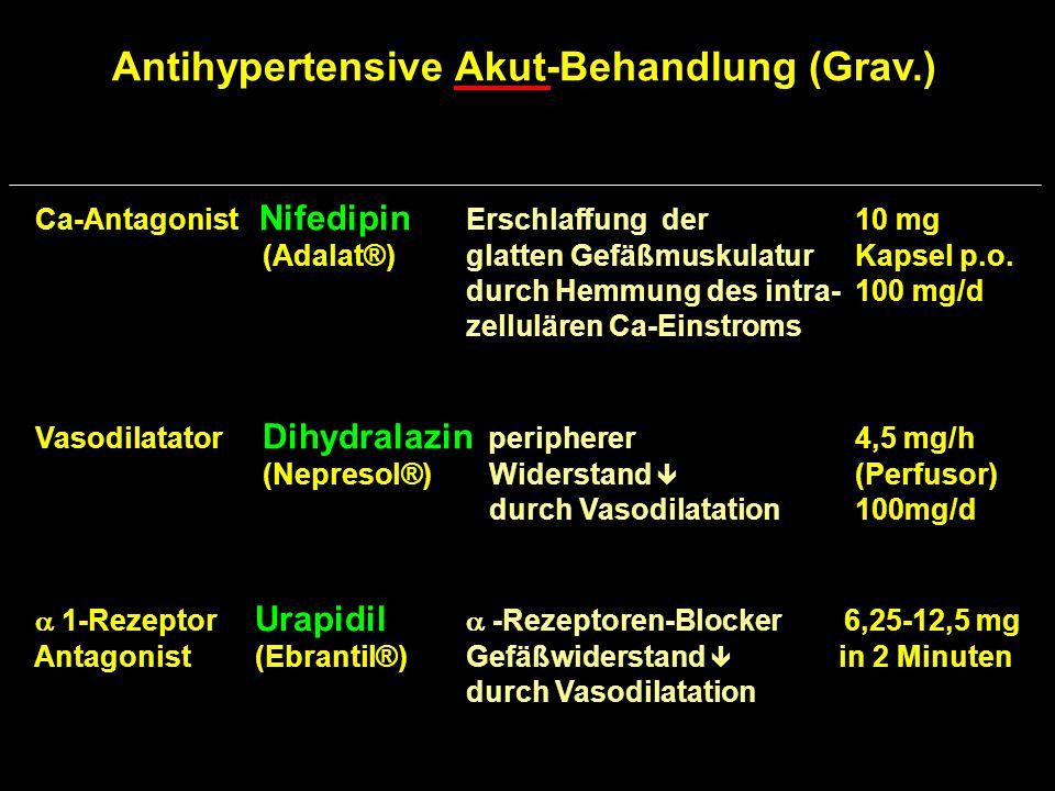 Antihypertensive Langzeit-Behandlung (Grav.) zentraler a-Methyldopa Sympathikotonus  250 mg 4 g/d  2-Agonist (Presinol®) durch Erregung 1-3 x /d zentraler und peripherer  2-Rez.