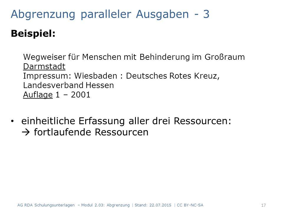 Abgrenzung paralleler Ausgaben - 3 Beispiel: Wegweiser für Menschen mit Behinderung im Großraum Darmstadt Impressum: Wiesbaden : Deutsches Rotes Kreuz