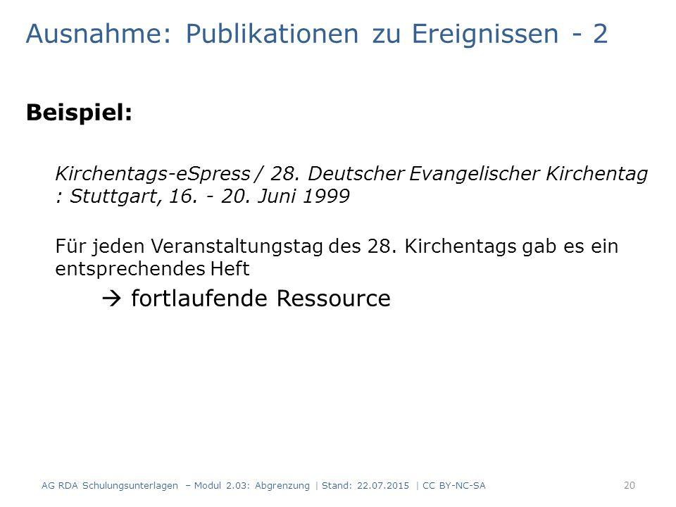 Ausnahme: Publikationen zu Ereignissen - 2 Beispiel: Kirchentags-eSpress / 28. Deutscher Evangelischer Kirchentag : Stuttgart, 16. - 20. Juni 1999 Für