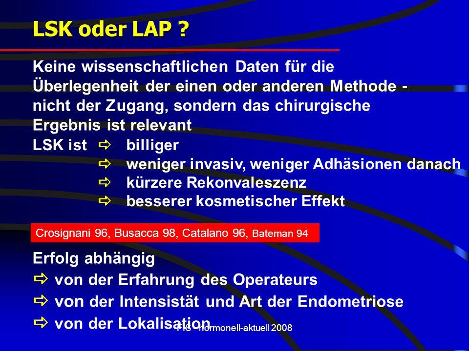 FIS - hormonell-aktuell 2008 LSK oder LAP ? LSK ist  billiger  weniger invasiv, weniger Adhäsionen danach  kürzere Rekonvaleszenz  besserer kosmet