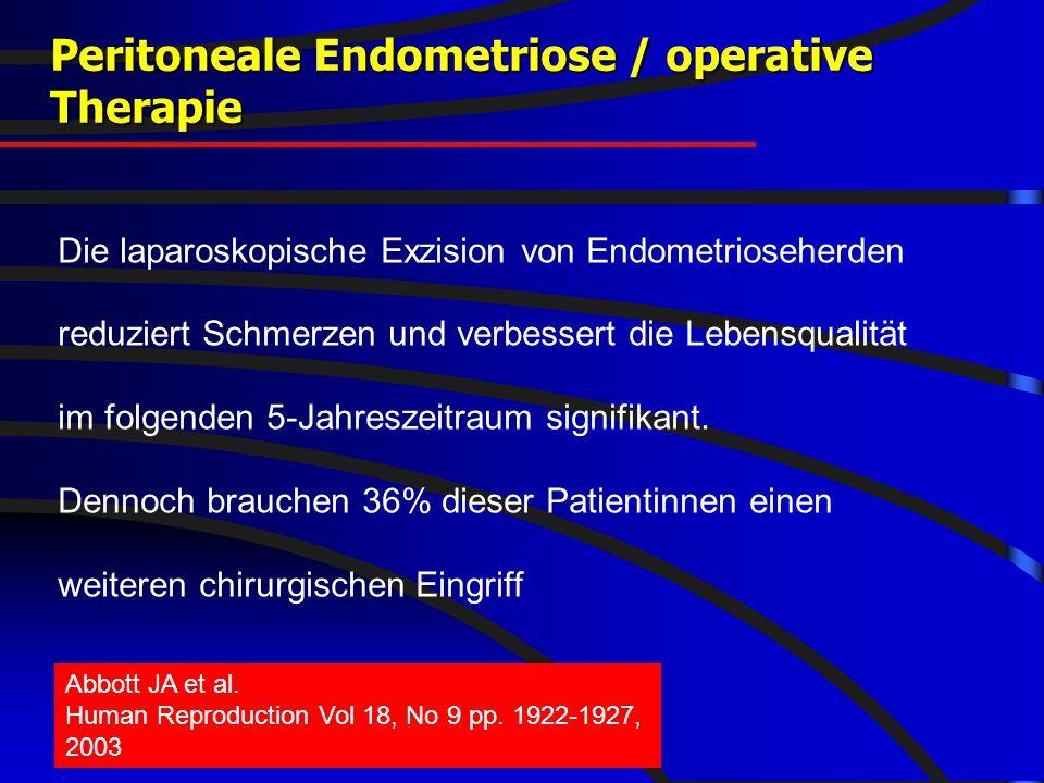 FIS - hormonell-aktuell 2008 Peritoneale Endometriose / operative Therapie Die laparoskopische Exzision von Endometrioseherden reduziert Schmerzen und