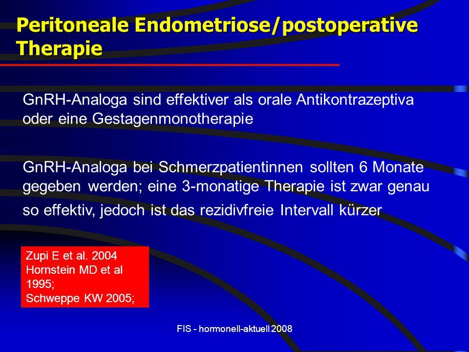 FIS - hormonell-aktuell 2008 GnRH-Analoga sind effektiver als orale Antikontrazeptiva oder eine Gestagenmonotherapie GnRH-Analoga bei Schmerzpatientin