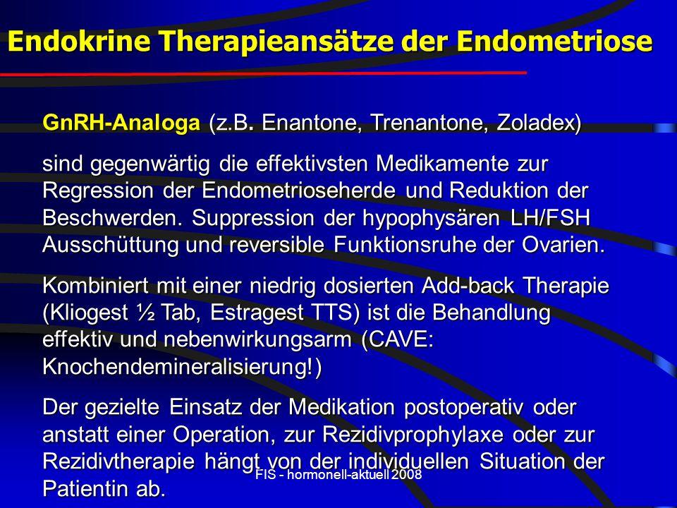 FIS - hormonell-aktuell 2008 GnRH-Analoga. Enantone, Trenantone, Zoladex) GnRH-Analoga (z.B. Enantone, Trenantone, Zoladex) sind gegenwärtig die effek