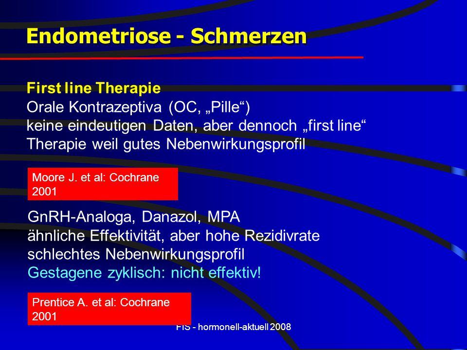 """FIS - hormonell-aktuell 2008 Endometriose - Schmerzen First line Therapie Orale Kontrazeptiva (OC, """"Pille"""") keine eindeutigen Daten, aber dennoch """"fir"""