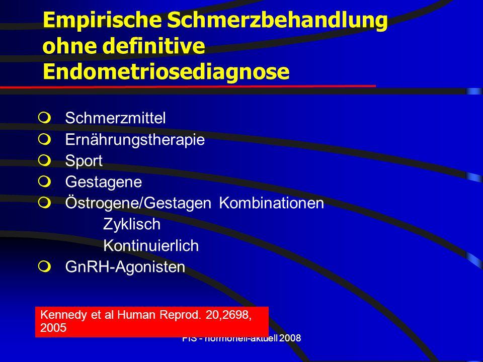 FIS - hormonell-aktuell 2008 Empirische Schmerzbehandlung ohne definitive Endometriosediagnose  Schmerzmittel  Ernährungstherapie  Sport  Gestagen