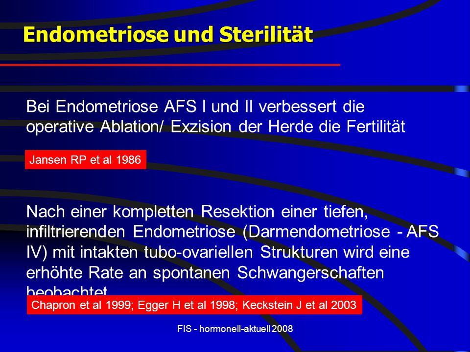 FIS - hormonell-aktuell 2008 Endometriose und Sterilität Bei Endometriose AFS I und II verbessert die operative Ablation/ Exzision der Herde die Ferti