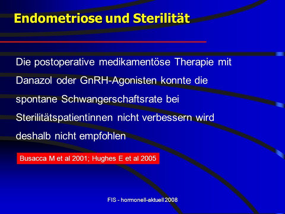 FIS - hormonell-aktuell 2008 Endometriose und Sterilität Die postoperative medikamentöse Therapie mit Danazol oder GnRH-Agonisten konnte die spontane