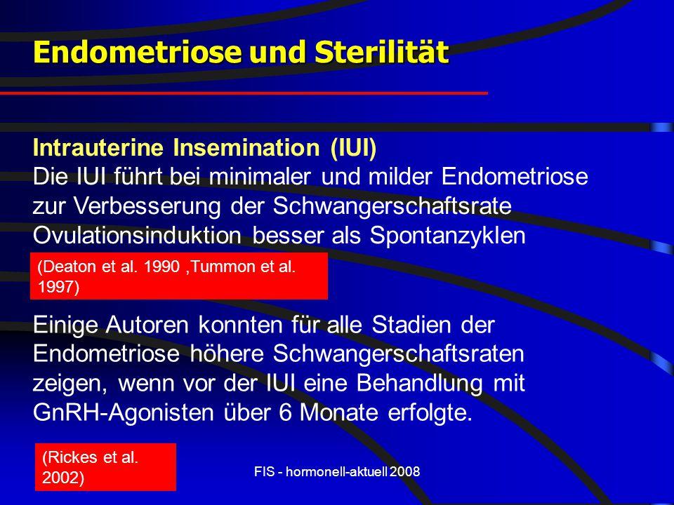 FIS - hormonell-aktuell 2008 Endometriose und Sterilität Intrauterine Insemination (IUI) Die IUI führt bei minimaler und milder Endometriose zur Verbe