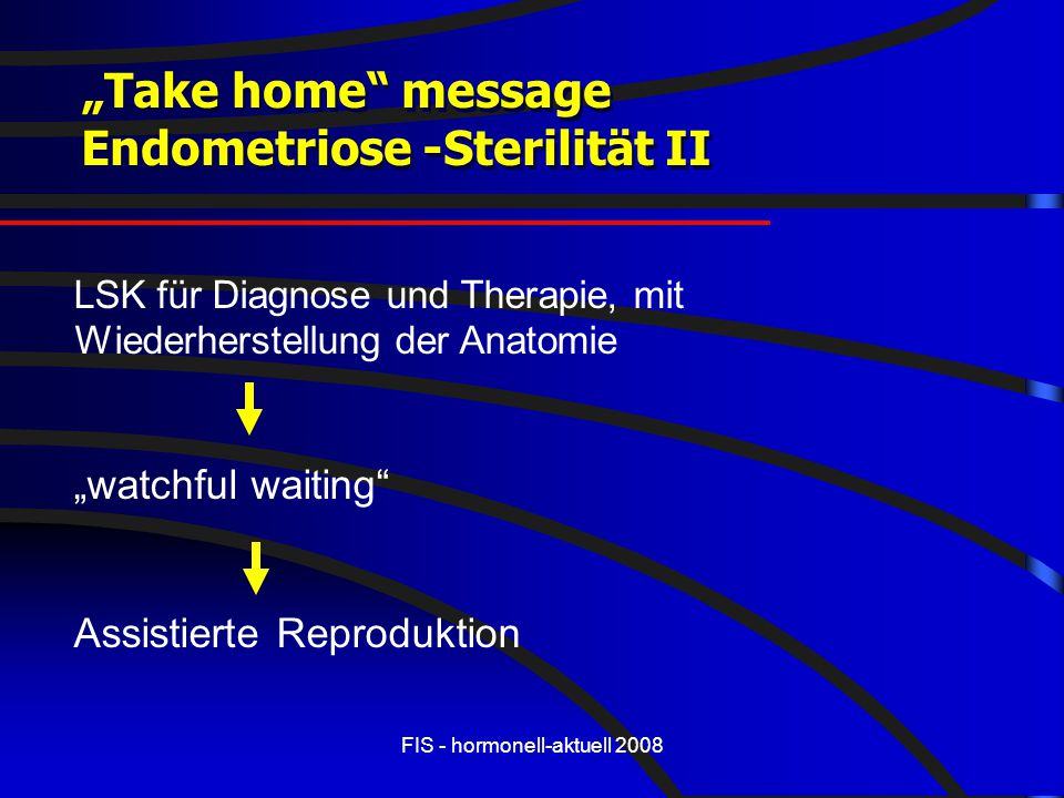 "FIS - hormonell-aktuell 2008 ""Take home"" message Endometriose -Sterilität II ""Take home"" message Endometriose -Sterilität II LSK für Diagnose und Ther"