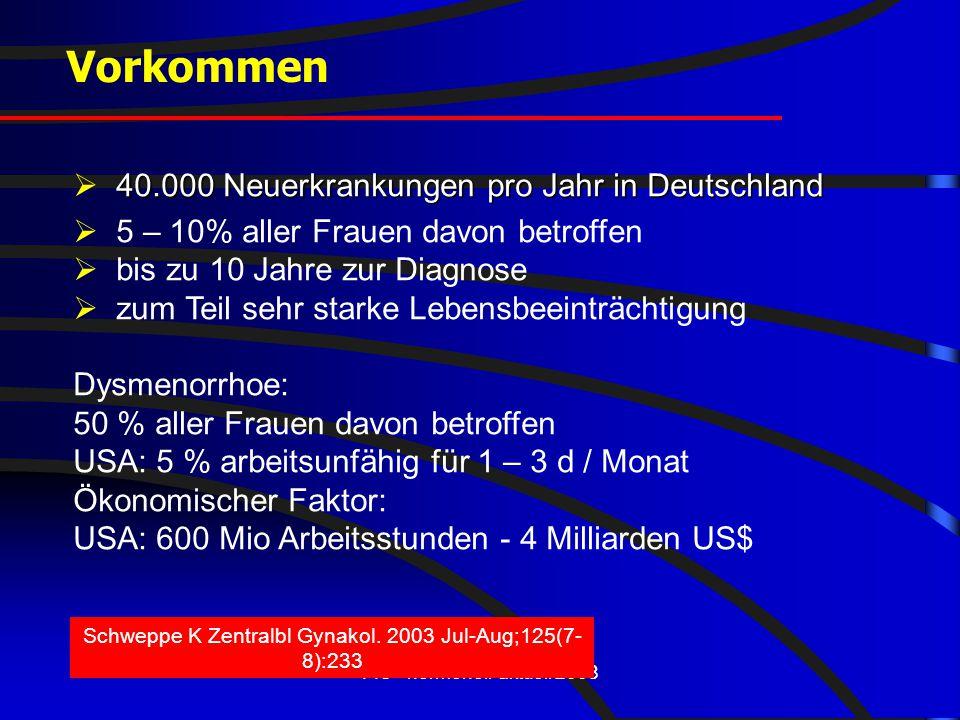 FIS - hormonell-aktuell 2008 40.000 Neuerkrankungen pro Jahr in Deutschland  40.000 Neuerkrankungen pro Jahr in Deutschland  5 – 10% aller Frauen da
